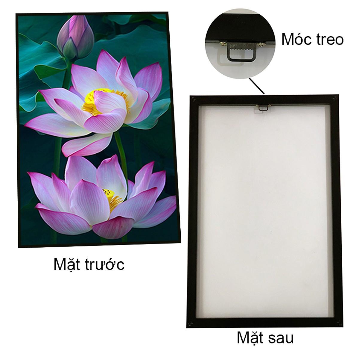 Tranh canvas kim tuyến - Hoa sen hồng nền đen trắng CA197 - công nghệ in uv hiện đại, thân thiện môi trường, khung đen