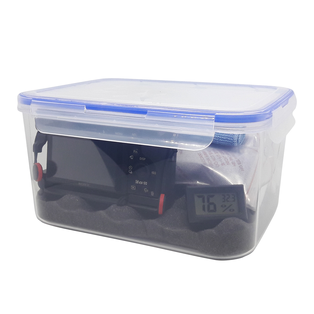 Combo hộp chống ẩm mini cao cấp, ẩm kế điện tử, 200gram hạt hút ẩm xanh, mút xốp, khăn lau lens cho máy ảnh, máy quay phim - dung tích 3,6 lít