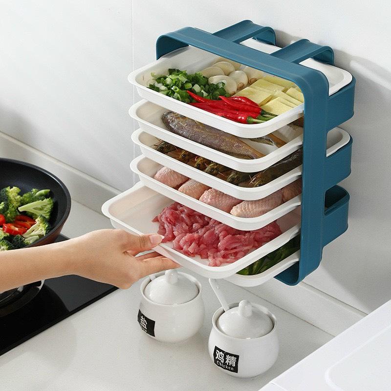 Bộ 6 khay chia ngăn đựng thức ăn, thực phẩm, đồ nấu nhà bếp treo tường thông minh - giao màu ngẫu nhiên