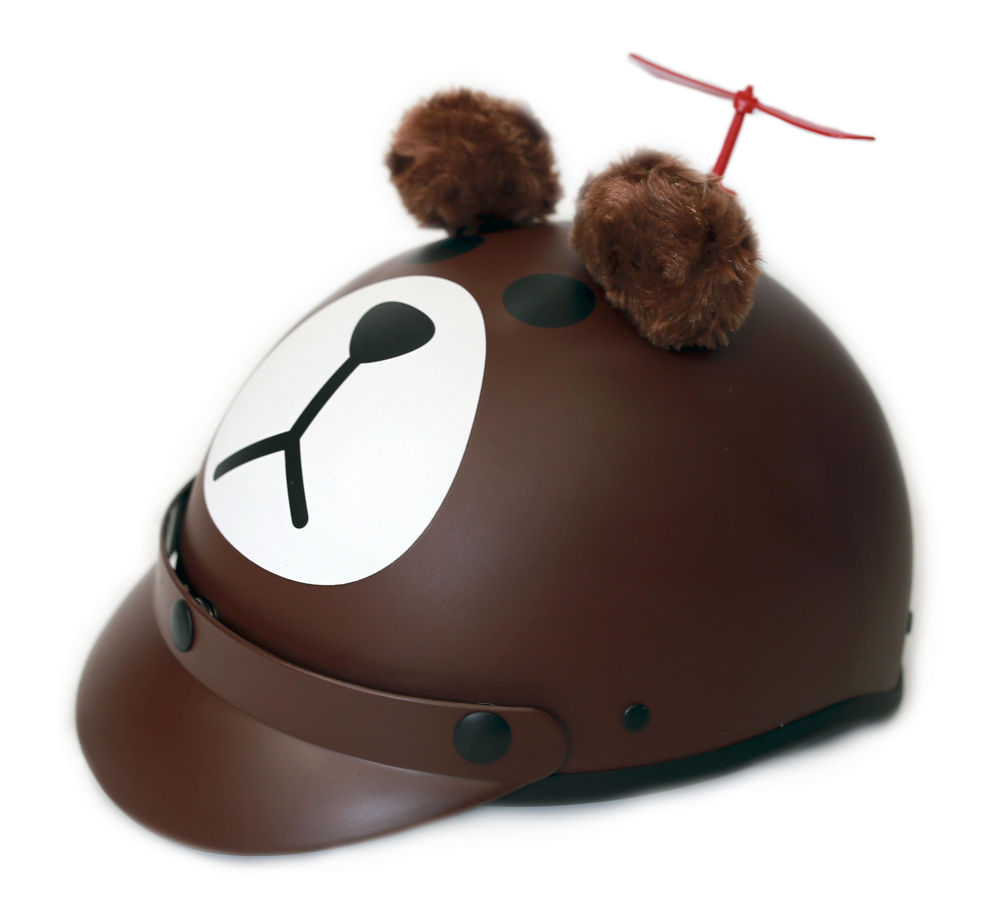 Mũ bảo hiểm gấu nâu 3D kèm chong chóng