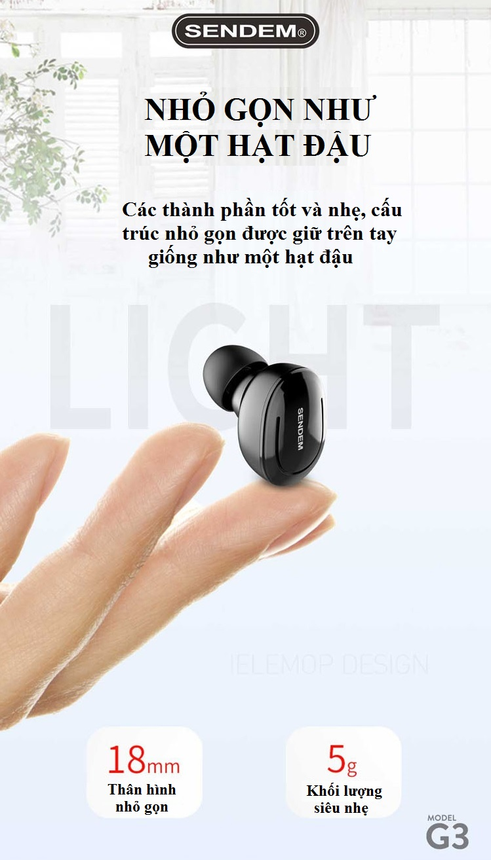 Tai nghe Bluetooth True Wireless SENDEM G3 V5.0 siêu nhỏ - Hàng chính hãng
