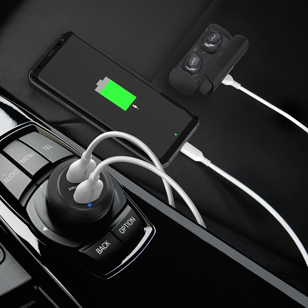 Củ Sạc Điện Thoại Trên Ô Tô Xe Hơi RAVPower 2 Cổng 40W, Quick Charge 3.0 - RP-VC007 - Hàng Chính Hãng