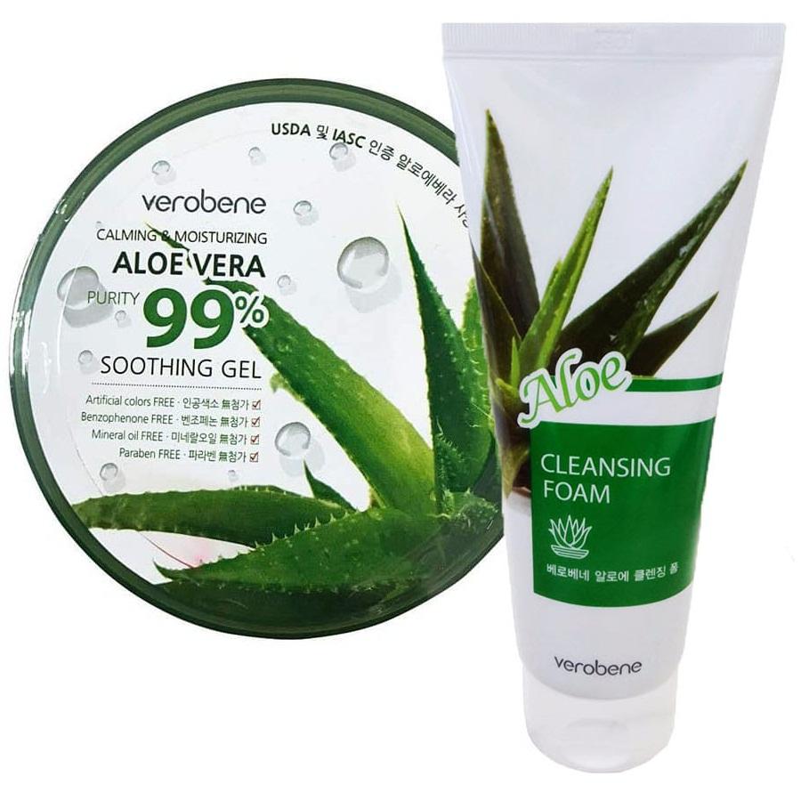 COMBO (Gel Dưỡng Ẩm + Sữa Rửa Mặt) Lô Hội_Verobene Calming & Moisturizing Aloe Vera Purity 99% Smothing Gel + Verobene Aloe Cleansing Foam