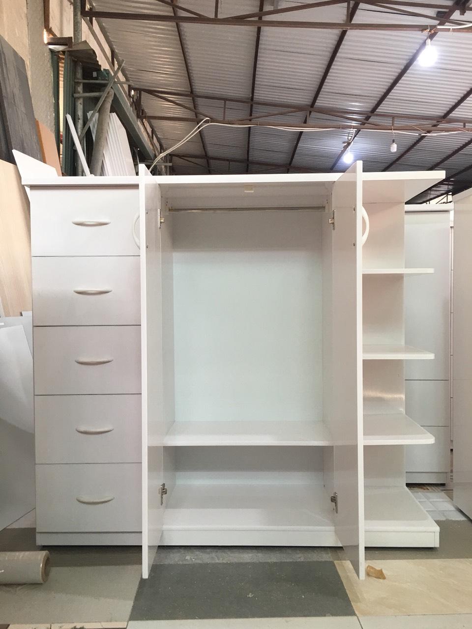 Tủ trẻ em hai cánh 5 ngăn kéo có kệ trang trí cao cấp V251