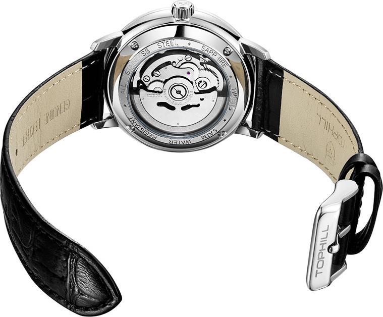 Đồng hồ nam dây da máy cơ tự động Thụy Sĩ TOPHILL TW061G.PB1258