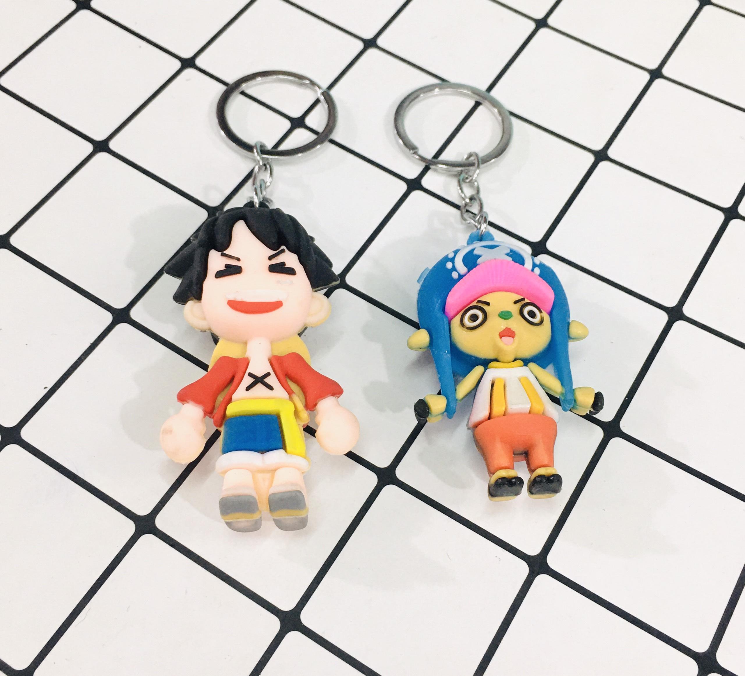 Set 2 Móc khóa tượng One Piece Luffy và Chopper