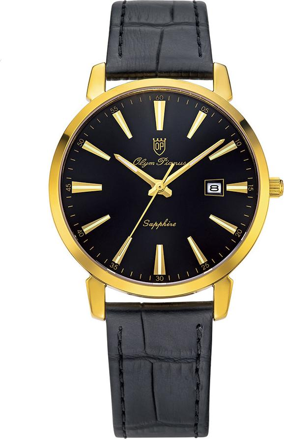 Đồng hồ nam dây da Olym Pianus OP130-03MK-GL đen