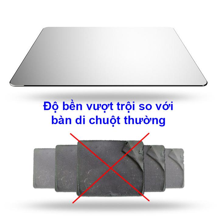 01 bàn di chuột hợp kim nhôm siêu bền Vaydeer - Bạc - 20x17cm