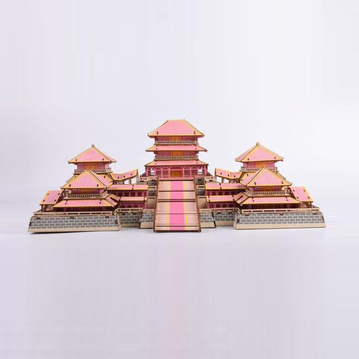 Đồ chơi lắp ráp gỗ 3D Mô hình Cung A Phòng Epang Palace - Tặng kèm Đèn LED trang trí