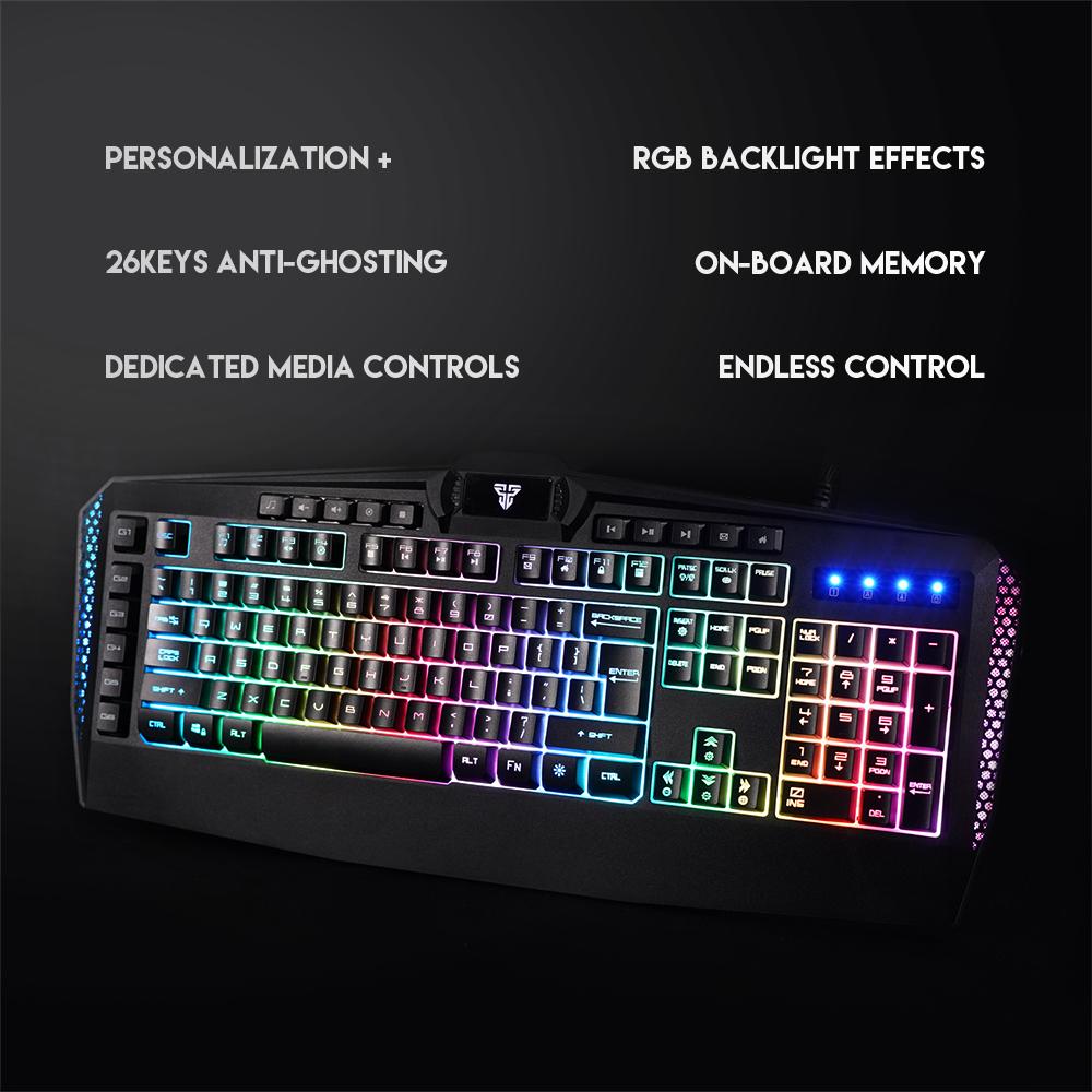 Bàn phím có dây Fanech K513 BOOSTER Led RGB, 26 phím anti ghost, có phần mềm tùy chỉnh, 6 phím macro - Hàng chính hãng