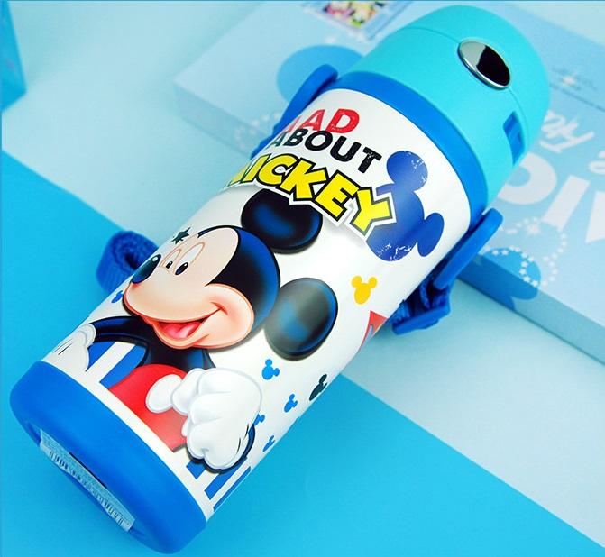 Bình nước giữ nhiệt có ống hút hình chuột Mickey vạch thẳng đứng màu xanh cho trẻ em, các bé, học sinh - (400ml) - WD-3424MK2