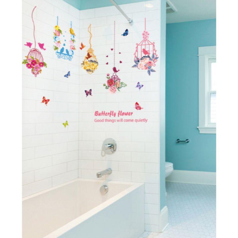 Decal dán tường Dây treo hoa chim và bướm trang trí phòng khách,phòng ngủ đẹp