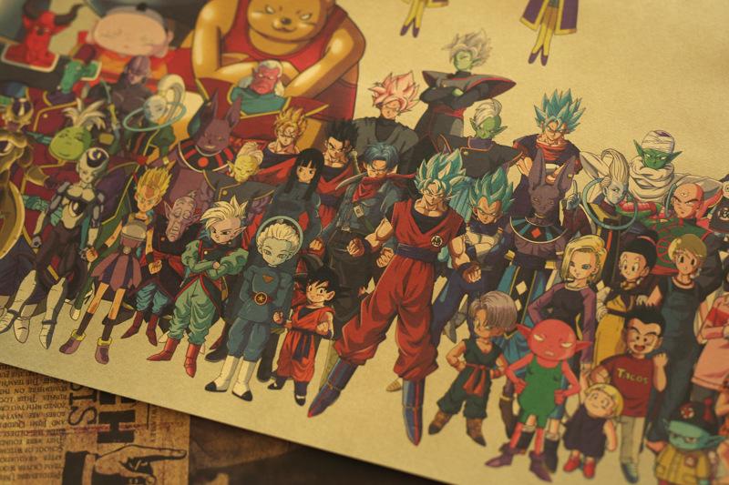Poster, Tranh Dán Tường Dragon Ball M Son Goku Phong cách retro giấy kraft áp phích-50*35CM [C048]