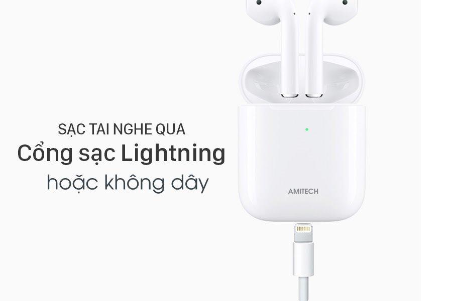 Tai nghe Bluetooth AMITECH Airpuds - Hàng Chính Hãng