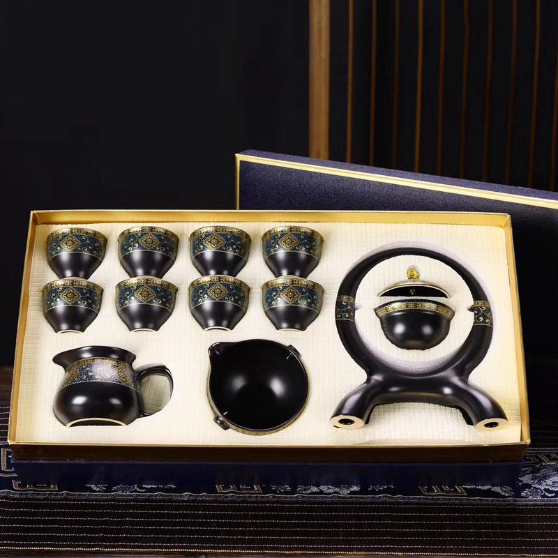Bộ ấm chén pha trà thác nước sm004 - đen vàng trắng 12 chi tiết