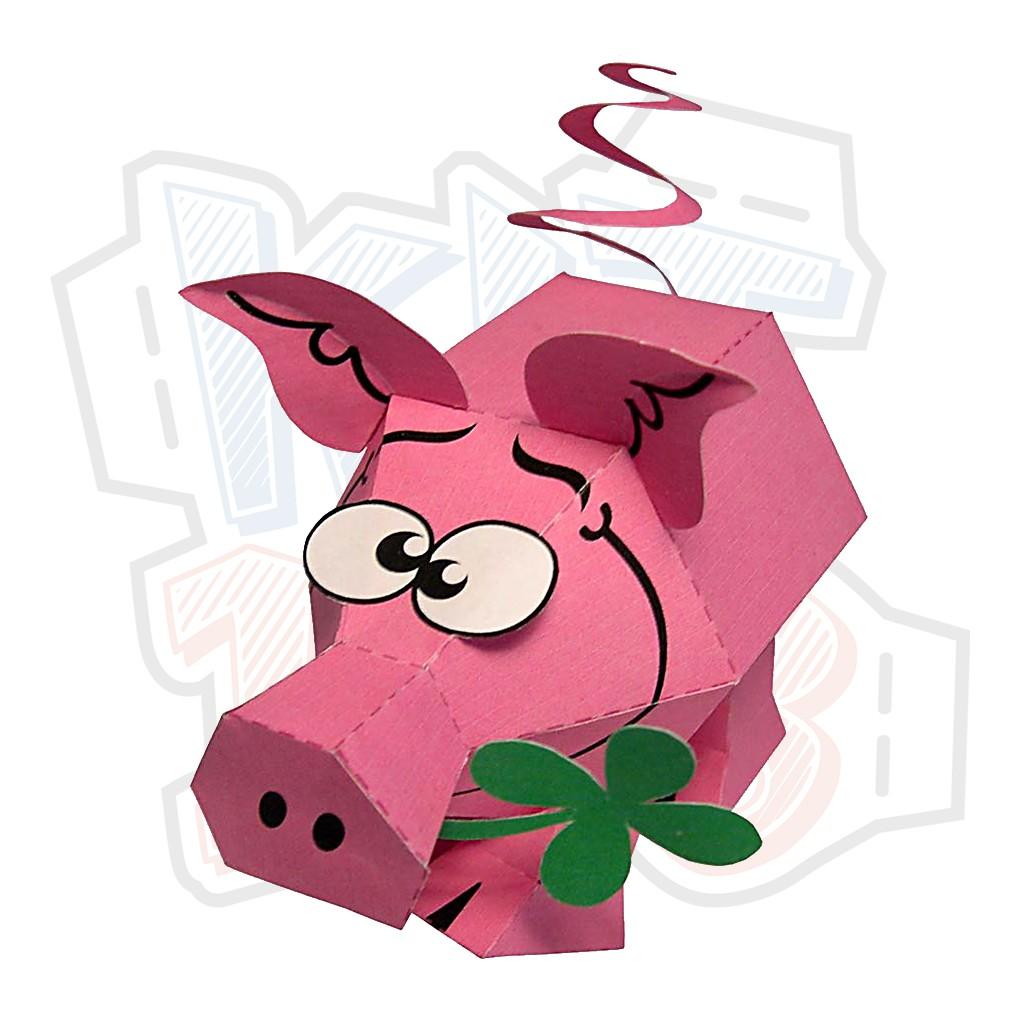 Mô hình giấy động vật Lucky Pig