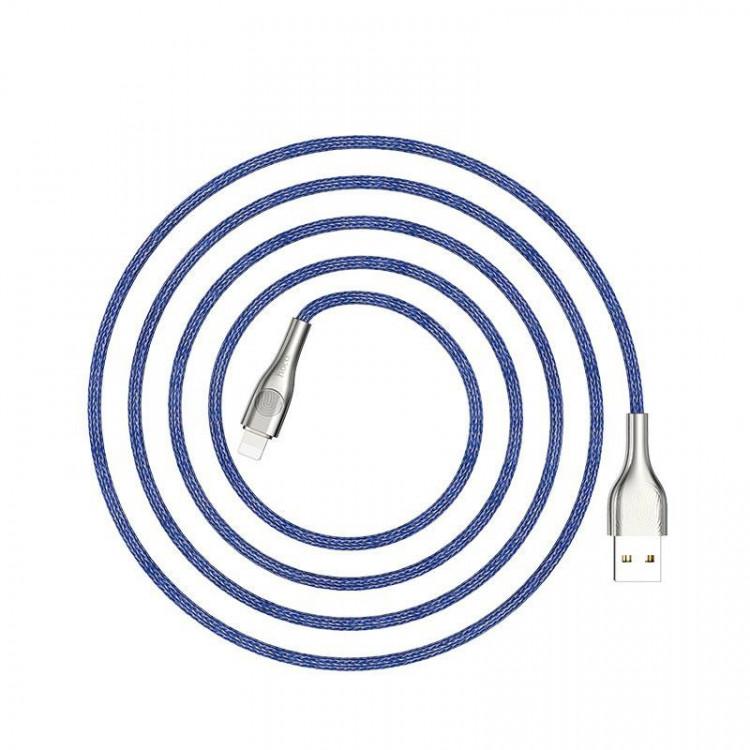 Cáp sạc nhanh 2.4A Type-C dây dù có đèn báo khi kết nối 120cm ( Xanh)- Hàng chính hãng