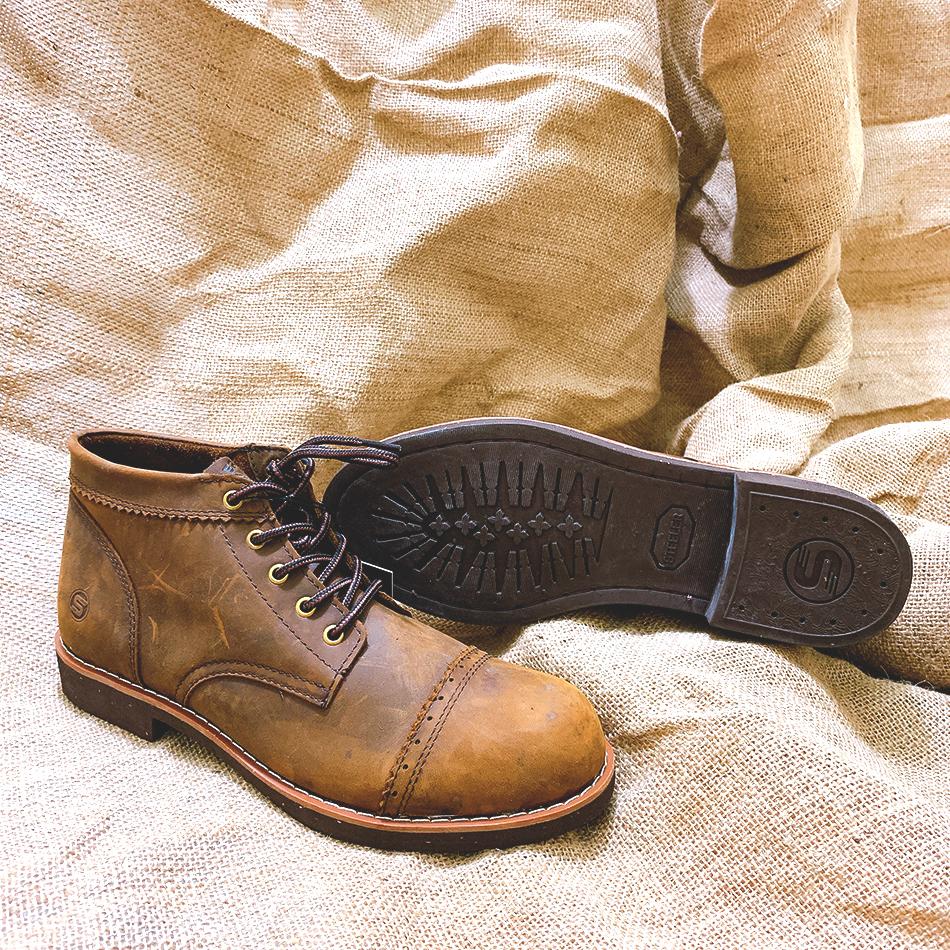 Giày cao cổ nam dà bò sáp steed logan shaw boots