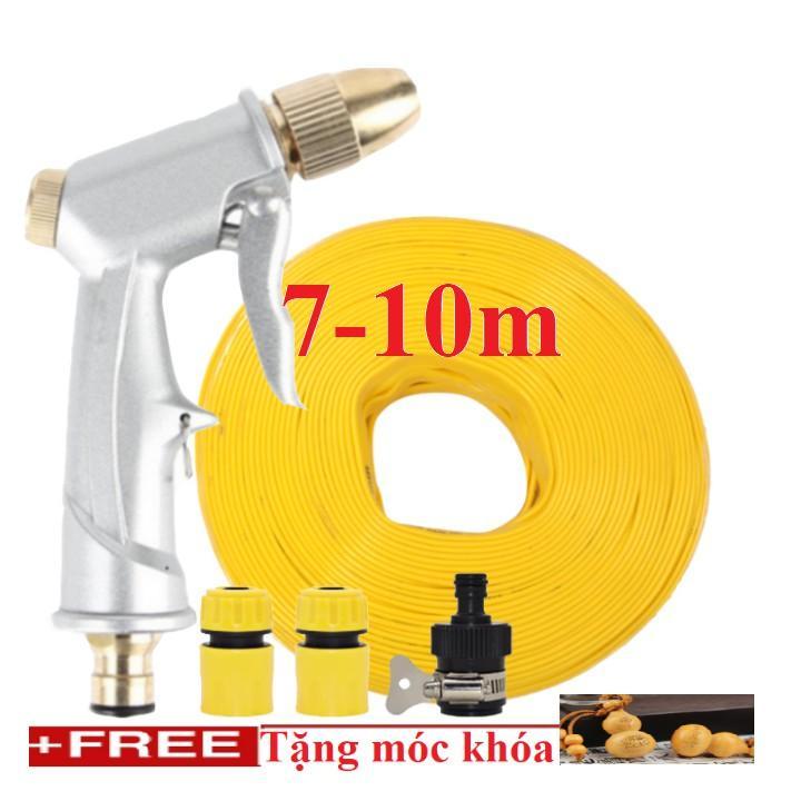 Bộ dây vòi xịt nước rửa xe, tưới cây . tăng áp 3 lần, loại 7m, 10m 206701 đầu đồng,cút,+ tặng móc khoá