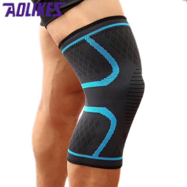Đai gối đàn hồi bảo vệ đầu gối khi chơi thể thao Aolikes AL7718 (1 đôi) - Xanh - L