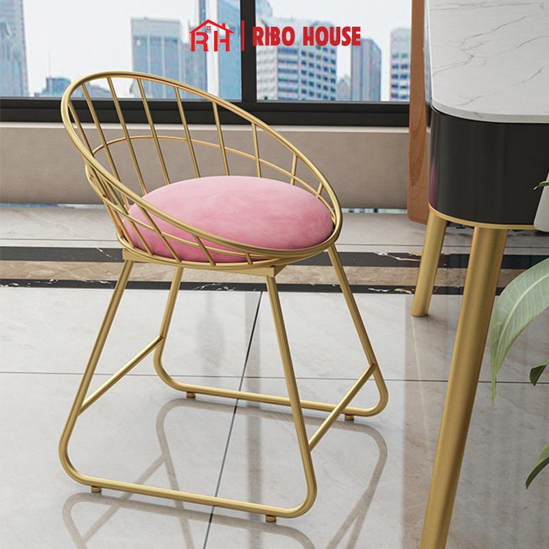 Ghế bàn trang điểm cao cấp RIBO HOUSE khung kim loại sơn tĩnh điện trang trí phòng ngủ phòng khách ban công RIBO55