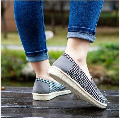 Giày lười slip on nữ bọc cói vintage kẻ caro xinh xắn-GL4