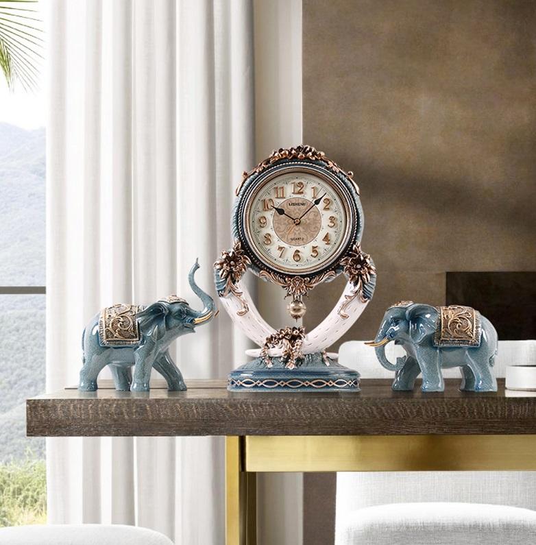 Cặp tượng voi phong thủy tặng kèm đồng hồ cao cấp