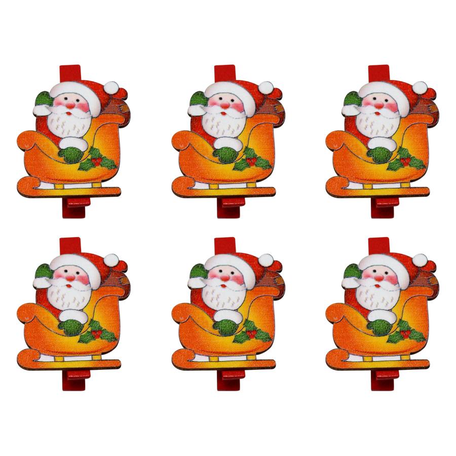 Bộ 6 Kẹp Ảnh Gỗ Trang Trí Giáng Sinh - Ông Già Noel Ngồi Xe