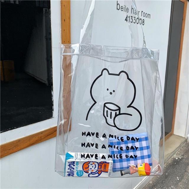 Túi tote trong suốt hình gấu