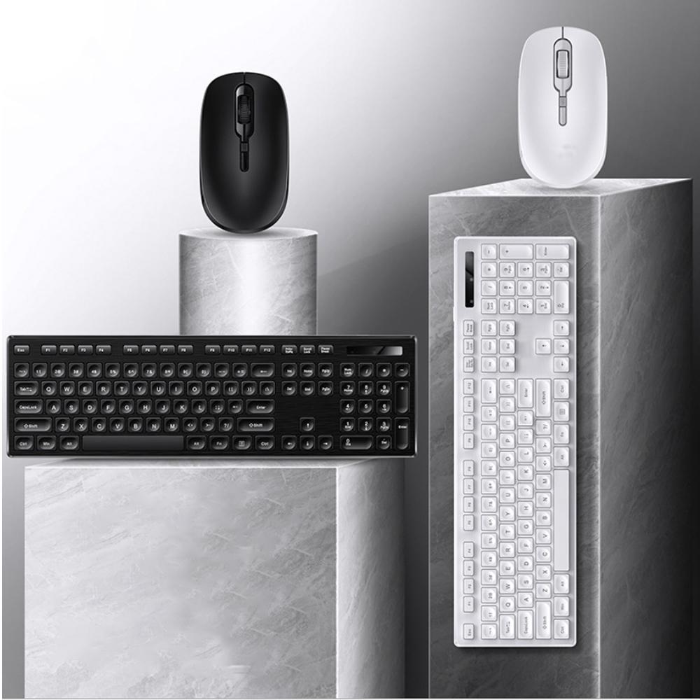 Combo bàn phím và chuột không dây V3Max chống nước tốt, thiết kế lõm tạo cảm giác gõ tốt hơn và có chế độ tự ngắt kết nối thông minh