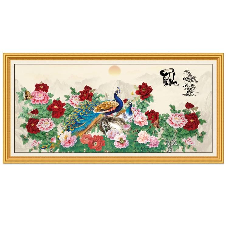 Tranh dán tường Đôi Chim Công bên Hoa Mẫu Đơn LunaTM-0126