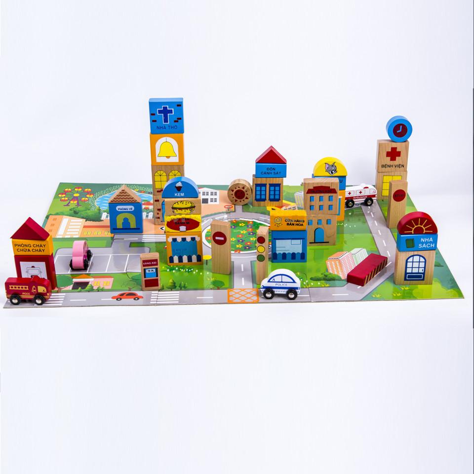 Đồ chơi gỗ mô hình thành phố tương lai