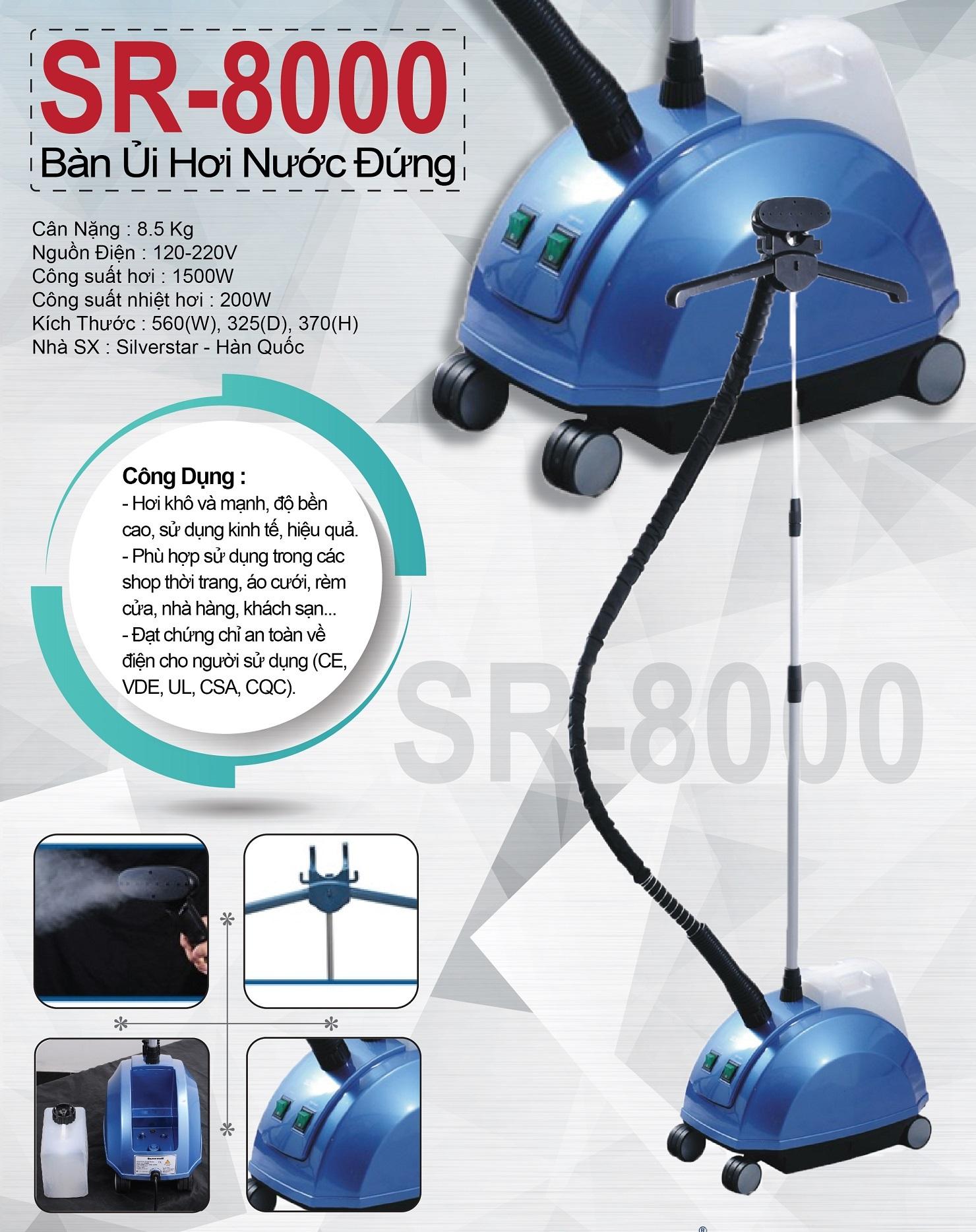 Bàn ủi hơi nước đứng công nghiệp SR-8000 Silver Star - Hàng chính hãng