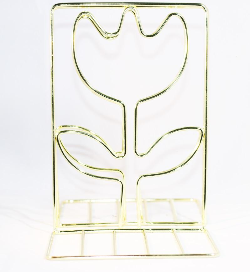 Giá Chặn Sách Kim Loại Để Bàn Hình Bông Hoa - Màu Vàng (Bộ 2 Cái)