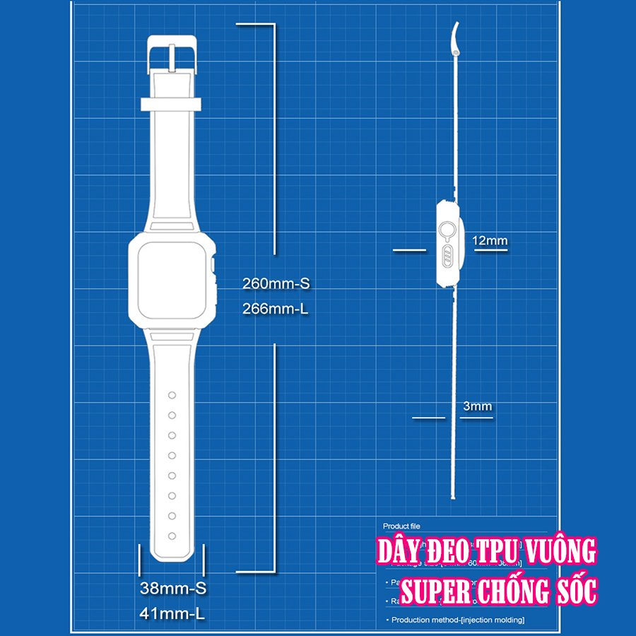 Dây Đeo liền ốp cho Apple Watch size 38/40/42/44mm TPU vuông SUPER chống sốc_Đen (tặng dán KCL theo size)