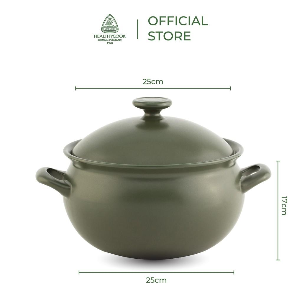 Nồi sứ dưỡng sinh Minh Long thân bầu 3.0 L + nắp dùng cho bếp gas, bếp hồng ngoại