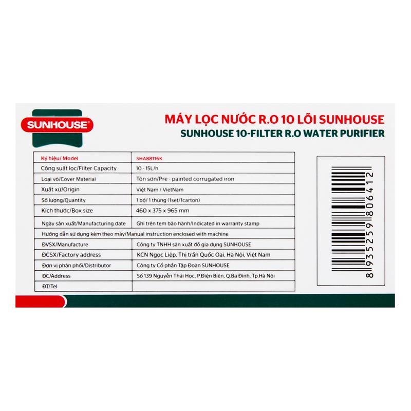 Máy lọc nước R.O 10 lõi Sunhouse SHA88116K - Hàng Chính Hãng