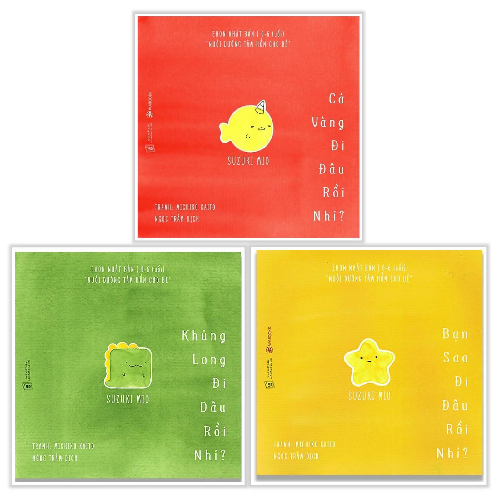 Combo Ehon Nhật Bản CHƠI TRỐN TÌM CÙNG NGƯỜI BẠN NGỘ NGHĨNH - ĐI ĐÂU THẾ: Cá Vàng Đi Đâu Rồi Nhỉ + Khủng Long Đi Đâu Rồi Nhỉ + Bạn Sao Đi Đâu Rồi Nhỉ (Bộ 3 cuốn phát triển trí tuệ 0 - 6 tuổi/ Tặng kèm Bookmark Happy Life)