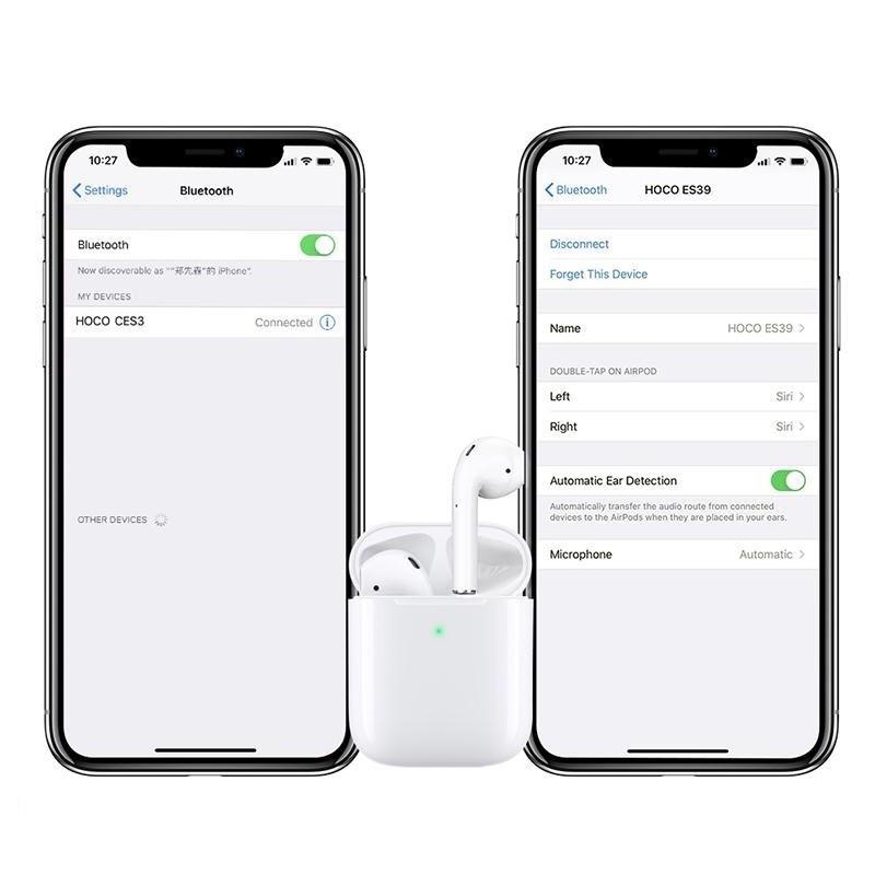 Tai nghe bluetooth không dây TWS Hoco CES3 V5.0, định vị, đổi tên, chạm cảm ứng, cửa sổ kết nối – Tai nghe không dây thiết kế nhỏ gọn, tiện lợi - Hàng chính hãng – TAI000S3W