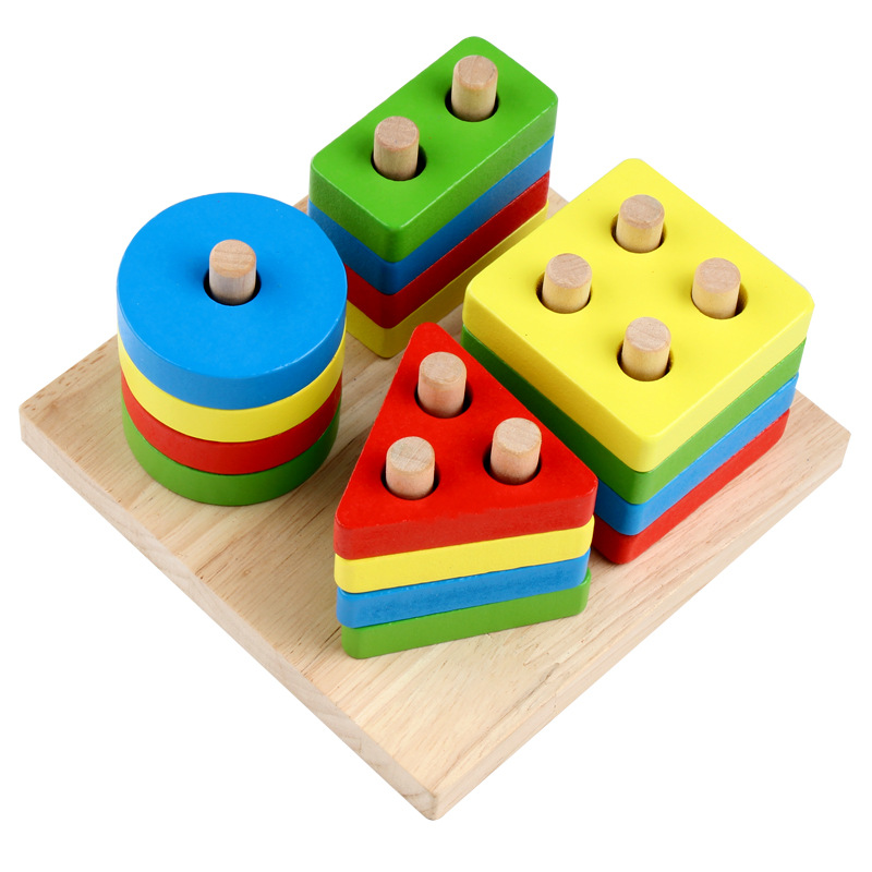 Đồ chơi gỗ lắp ráp Hình khối cho bé tập nhận biết mầu sắc và các hình học cơ bản