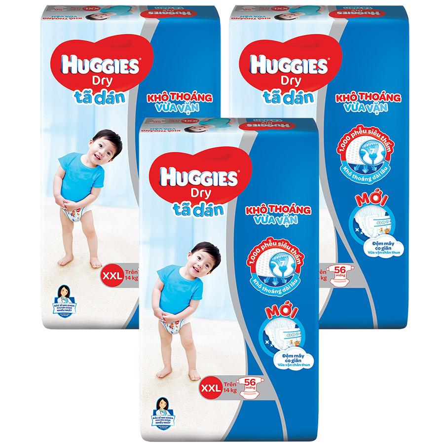 Combo 3 Gói Tã Dán Huggies Dry Gói Cực Đại XXL56 (56 Miếng) - Bao Bì Mới |  Tiki
