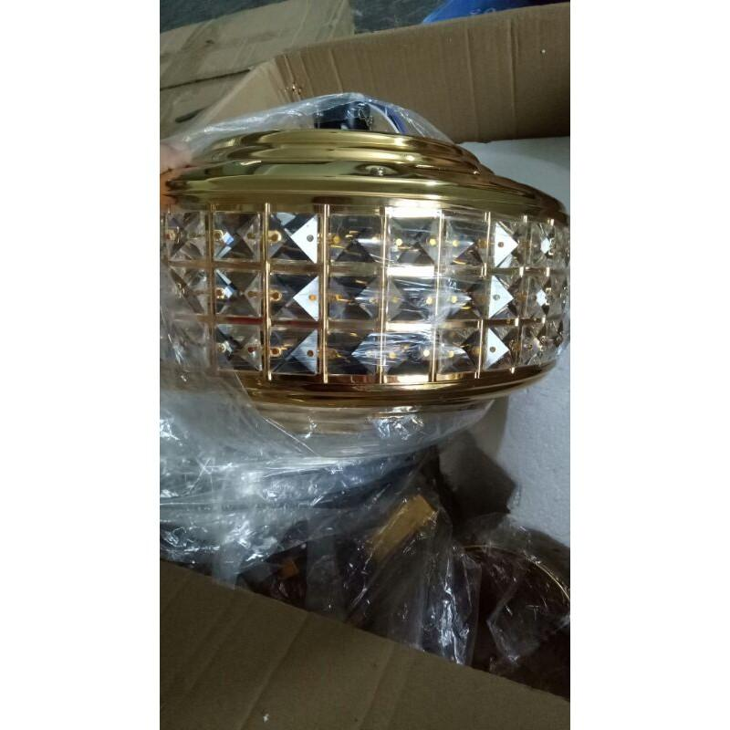 Quạt trần đèn 8011 mạ 24k nhập khẩu 5 cánh thép có điều khiển từ xa