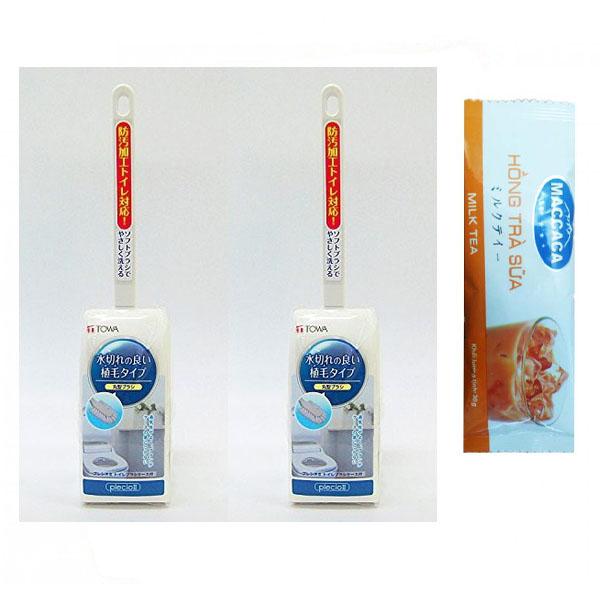 Combo 2 Cây Chổi Cọ Toa-let Bồn Cầu Dáng Tròn Japan (Tặng Hồng Trà Sữa/Cafe Maccaca)