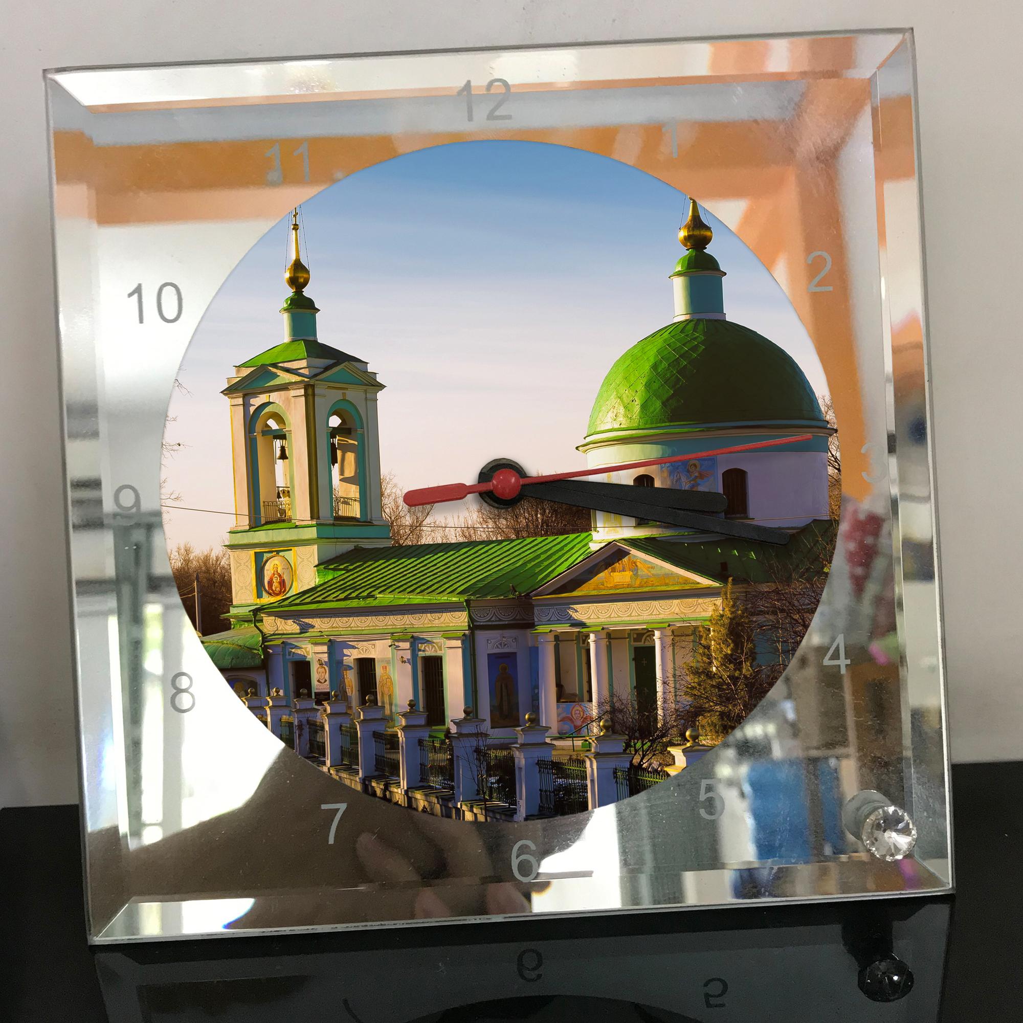 Đồng hồ thủy tinh vuông 20x20 in hình Church - nhà thờ (218) . Đồng hồ thủy tinh để bàn trang trí đẹp chủ đề tôn giáo