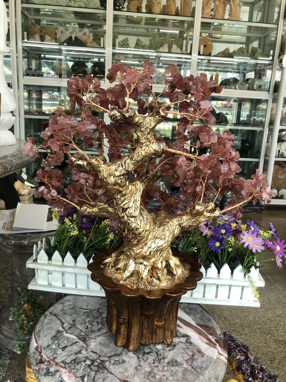 Cây Tài Lộc phong thủy đá thạch anh dâu tây đỏ - Cao 45 cm
