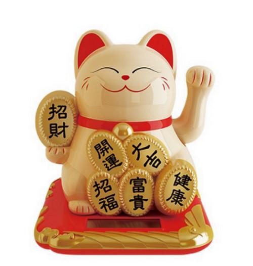 Mèo may mắn vẫy tay năng lượng mặt trời đính miếng vàng tài lộc phú quý an khang thịnh vượng phát tài như ý (Trắng)
