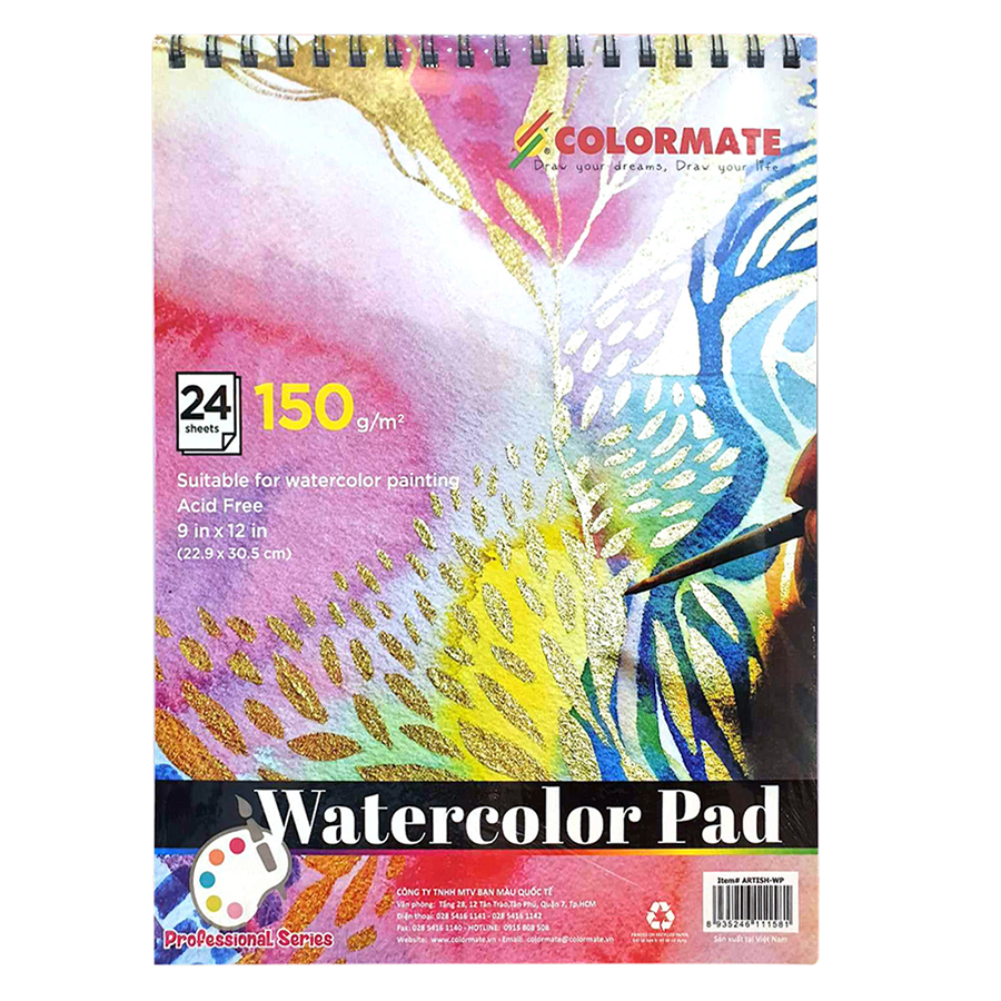 Tập Giấy Vẽ A4 Watercolor Pad Colormate ARTIST-WP (24 Tờ)