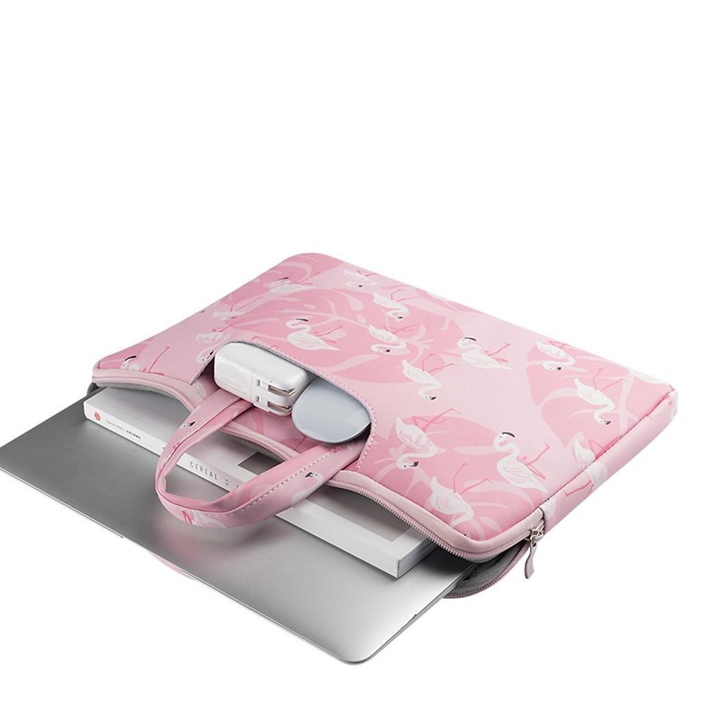 Túi chống sốc cho Macbook, Laptop da PU cao cấp hoạ tiết hồng hạc