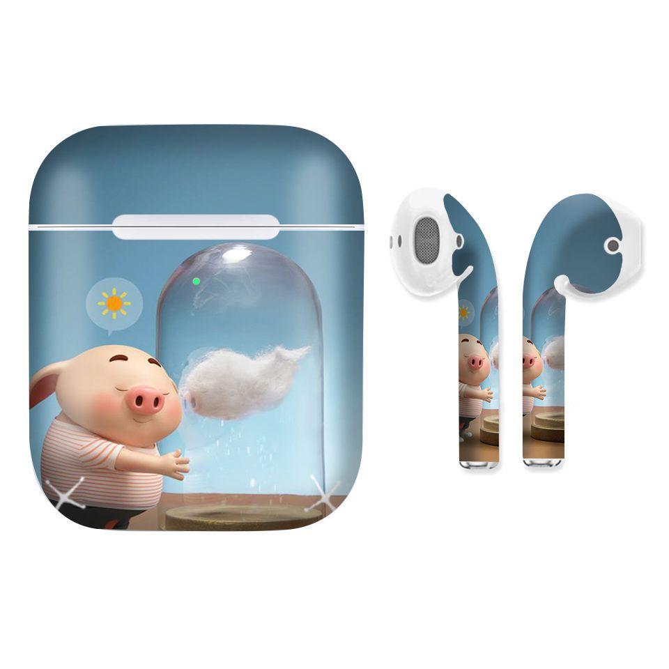 Miếng dán skin chống bẩn cho tai nghe AirPods in hình Heo con dễ thương - HEO2k19 - 142 (bản không dây 1 và 2)