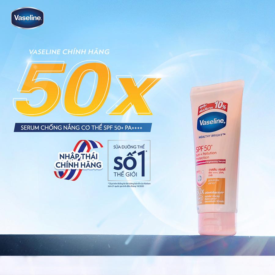 Vaseline 50x Serum Chống Nắng Cơ Thể SPF50 + Dưỡng Da Sáng Khoẻ 200ml